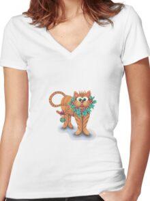 FELINE Festive!!!  Women's Fitted V-Neck T-Shirt