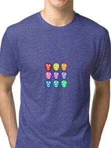 9 Colourful Boosh Skulls - black outline Tri-blend T-Shirt