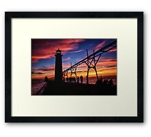 Sunset From the Pier - Grand Haven, Michigan Framed Print