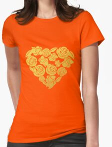 Gold Roses Heart Womens Fitted T-Shirt