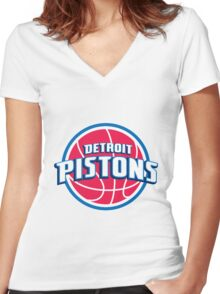 Detroit Pistons Women's Fitted V-Neck T-Shirt