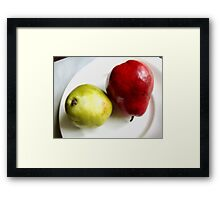 Red and Green Pears on a White Plate Framed Print