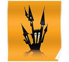 Vector - Halloween haunted house. Haunted house silhouette. Vector icon. Poster