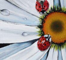 Ladybug on flower Sticker