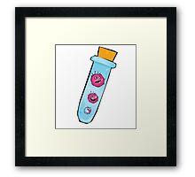Viruses in test tube. Vector Illustration of funny viruses. Framed Print