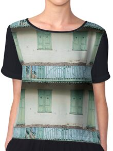 Green Wood Chiffon Top