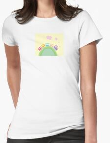 Cartoon train. Wonderful train is going through pastel country Womens Fitted T-Shirt