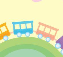 Cartoon train. Wonderful train is going through pastel country Sticker