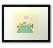 Cartoon train. Wonderful train is going through pastel country Framed Print