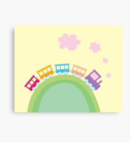 Cartoon train. Wonderful train is going through pastel country Canvas Print
