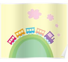 Cartoon train. Wonderful train is going through pastel country Poster