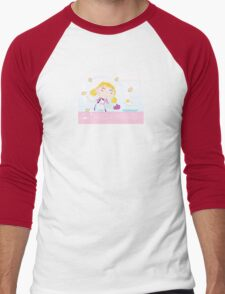 Girl is cooking. Food preparation. Woman in the kitchen. Men's Baseball ¾ T-Shirt