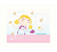 Girl is cooking. Food preparation. Woman in the kitchen. Art Print