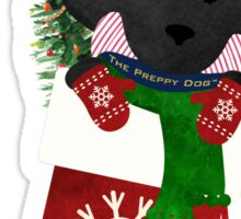 Cute Black Lab Puppy Christmas Stocking Sticker