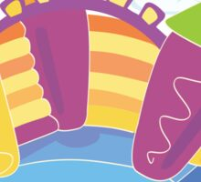 Vector bouncy castle. Vector Illustration of a bouncy castle with girl jumping on it Sticker