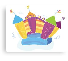 Vector bouncy castle. Vector Illustration of a bouncy castle with girl jumping on it Canvas Print