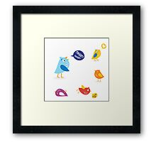 Colored twitter birds set. Twitter birds set in different colors Framed Print