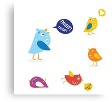 Colored twitter birds set. Twitter birds set in different colors Canvas Print