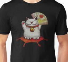 White Maneki Neko with a Japanese fan Unisex T-Shirt