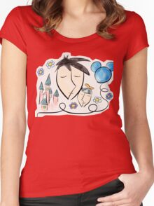 Father and son dreaming about Disneyland ! Women's Fitted Scoop T-Shirt