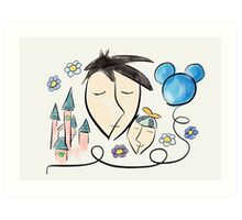 Father and son dreaming about Disneyland ! Art Print
