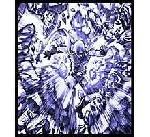 one_man_punch_explosion_blue Photographic Print