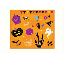 Halloween icons and design elements. Retro halloween icons and graphic elements isolated on orange background Art Print