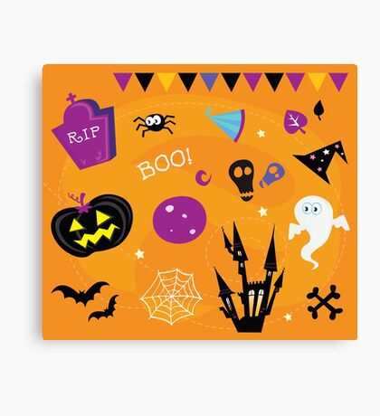 Halloween icons and design elements. Retro halloween icons and graphic elements isolated on orange background Canvas Print