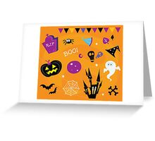 Halloween icons and design elements. Retro halloween icons and graphic elements isolated on orange background Greeting Card