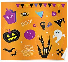 Halloween icons and design elements. Retro halloween icons and graphic elements isolated on orange background Poster