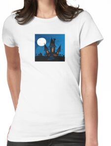 Haunted scary house. Old scary mansion. Illustration. Womens Fitted T-Shirt