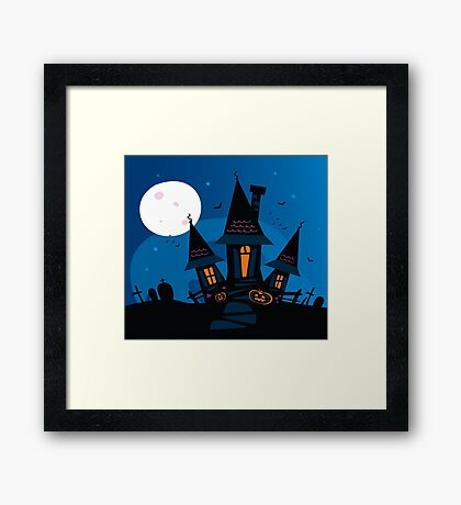 Haunted scary house. Old scary mansion. Illustration. Framed Print