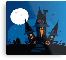 Haunted scary house. Old scary mansion. Illustration. Metal Print