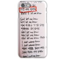BTS LYRICS - LET ME KNOW iPhone Case/Skin