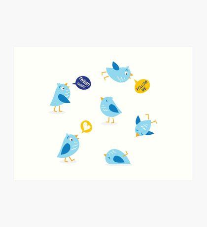 Twitter message birds set. Collection of Twitter bird icons. Art Print