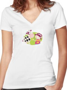 Farm girl with small cow. Small child is feeding cute calf. Illustration. Women's Fitted V-Neck T-Shirt