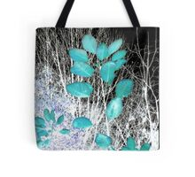 Turquoise Leaves Winter Night Tote Bag