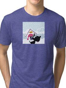 Funny christmas dog. Adorable christmas doggie in christmas hat Tri-blend T-Shirt
