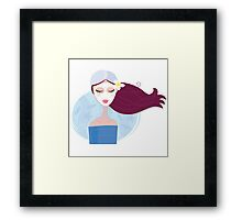 Spa woman with facial peeling mask. Young woman with facial mask Framed Print