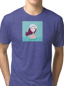 Hydrotherapy: Spa woman relaxing in blue. Beautiful spa woman is relaxing in blue water spa.  Tri-blend T-Shirt