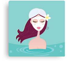 Hydrotherapy: Spa woman relaxing in blue. Beautiful spa woman is relaxing in blue water spa.  Canvas Print
