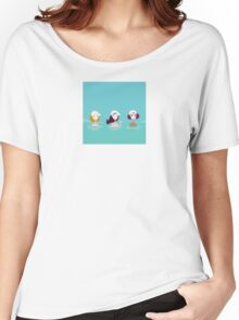 Three ladies in water spa. Beautiful ladies relaxing in water spa. Vector Illustration in retro style. Women's Relaxed Fit T-Shirt