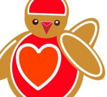 Robin Gingerbread Bird for Christmas Sticker
