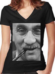 Watercolour Alf Garnett Women's Fitted V-Neck T-Shirt
