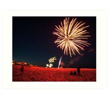 fireworks over the beach Art Print