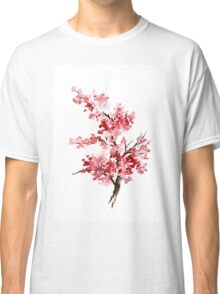 Flower Cherry Blossom Watercolor Painting Illustration Image Picture Classic T-Shirt
