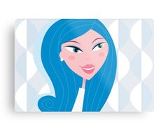 Winter woman face - light skin type (vector). Beautiful woman with light skin skin type Metal Print