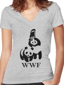WWF Panda Parody Women's Fitted V-Neck T-Shirt