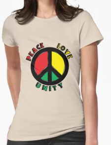 Peace, Love & Unity Womens Fitted T-Shirt