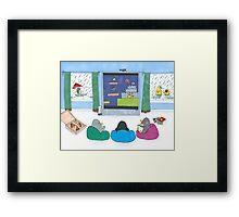 Penguins Playing Videogames Framed Print